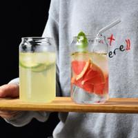 copo de leite criativo Cocktail Caneca de vidro anel-pull pode zip-top lata limão chá personalizado suco de bebida YSY335-L