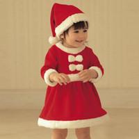Новый детский рождественский костюм девушки Рождественское платье с шляпой костюм