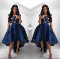 2019 marineblauw cocktail jurken een lijn ronde hals kant hoge low prom jurk korte partij Arabische avondjurken vestidos