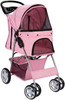 Carrello per animali domestici gatto cane a 4 ruote passeggino viaggio pieghevole auto rosa