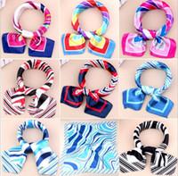 74 Diseño de las mujeres de seda de imitación de la bufanda de impresión bufanda pequeña etiqueta profesional Square Business Imitar bufanda de seda 50 * 50cm KKA4333
