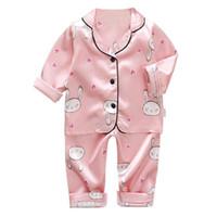 아기 옷 가정 만화 소녀 아이들의 잠옷 실크 면 긴 소매 티셔츠+바지 아이 잠옷 고품질 세트