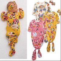 Toddle Sacs de couchage Bandeau Set Fleurs Floral Anti coup de pied Vêtements barboteuses du nouveau-né à manches courtes noueuse Pyjama Set Homewear nuit C7005