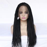 Высокое качество Длинные коробки оплетки парик Braiding синтетический парик фронта шнурка черный заплетать волосы в косички косы парики шнурка для чернокожих женщин