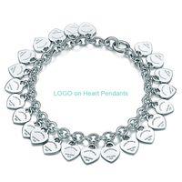 سحر سوار مجوهرات للنساء الحب الكلاسيكية قلب بطاقة كاملة سلسلة أساور المعلقات لامرأة هدية 925 T غرامة مجوهرات