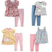 Bebé de roupa bonito dos miúdos define definir manga curta 100% da menina do algodão verão camisa da flor do arco-íris T completa + Pant crianças conjuntos de roupas