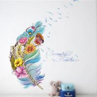 화려한 3D 생생한 깃털 나비 새 꽃 벽 스티커 홈 장식 거실 PVC 벽 전사 술 DIY 벽화 아트 포스 테