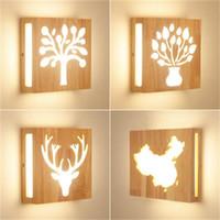 أدى أضواء جديدة الخشب الصلب شجرة غنية مصباح الجدار الإبداعية الحديثة الدرج الحد الأدنى غرفة نوم السرير الممر غرفة المعيشة على الطريقة اليابانية مصباح الجدار