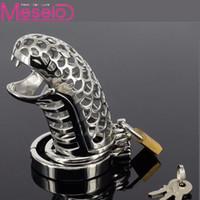 Meselo Metal Dispositivo de castidad masculina de acero Jaula de martillo Jaula del pene Cinturón de castidad Juguetes sexuales Producto sexual para hombres Hombre Y190713