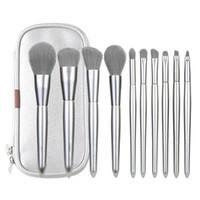 Gümüş Makyaj PU Kozmetik Çantası Güzellik Fırça Aracı GGA2268 ile Kapatıcı Allık Eyeshaow Eyeliner Makyaj Fırçalar Kit Fırçalar