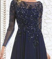 2022 Mãe Elegante da Noiva Vestidos Chiffon Lace Appliques Beaded Illusion mangas compridas Bateau Neck Festa de casamento Vestidos de noite Vestido
