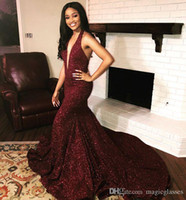 2019 Sexy Open Back Sparkly Mermaid Prom Dress Long Simple B...