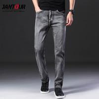 Jantour Brand 2019 Autumn Winter Men's Fashion Jeans Business Casual Stretch Slim Gray Jean Classic Trousers Denim Pants Male