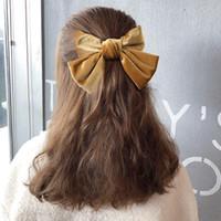 Kıl büyük Bow Kravatlar Saç Klipler Kadife İki Katman Yaylar Tokalar Kadınlar Katı ilmek Tokalar Kız Saç Aksesuarları 6 Renkler DW4963