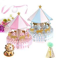회전 목마 베비 샤워 사탕 호의 상자 유니콘 파티 용품 웨딩 생일 장식을위한 캔디 백 선물 상자 표 중심