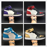 Basketball Shoes 1s OG Toe Black White Red Gold Blue Purple ...