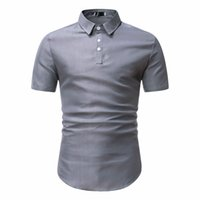 Mens Slim Fit Cotton Shirt 2020 Summer Short Sleeve Shirt Me...