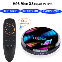 H96 MAX X3 الروبوت التلفزيون مربع 9.0 4GB 32GB S905X3 1080P H.265 4K مخزن جوجل H96MAX 4G64G مع صوت التحكم عن بعد