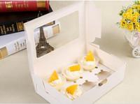 Favor titulares torta cajas de torta de la magdalena tarjeta de Kraft caja de papel 6 Copa mollete postre caja portable del paquete de seis bandeja regalo