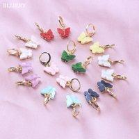 Dangle Avize Blijery Moda Kadınlar Kelebek Bırak Küpe Sevimli Hayvan Renkli Akrilik Beyanı Kızlar Tiny Hoops Parti Takı