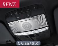 메르세데스 벤츠 2015-2020 C 클래스 W205 GLC X253 스테인레스 스틸 자동차 지붕 독서 라이트 패널 장식 돔 램프 커버 트림 부속품