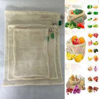 مل 3pcs / مجموعة قابلة لإعادة الاستخدام القطن مش بقالة أكياس التسوق إنتاج الفاكهة الخضار الطازجة حقائب اليد حقائب اليد حقائب التخزين الحرة DHL WX9-1173