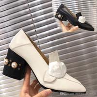Zapatos de barco de tacón alto clásico 100% ocupación de cuero perla tacones altos zapatos de metal tacones gruesos tacones perezosos mujer vestido de vestido grande tamaño 35-41-42