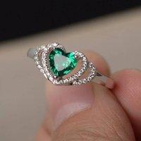 Простая и элегантная выдалбливает сердце Finger кольца серебра цвет Зеленый камень Свадебного Engagment партия ювелирные изделия лучший подарок для друзей