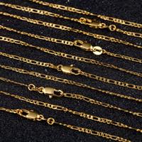 2mm في الذهب فيجارو سلسلة القلائد رجال نساء 3: 1 شقة تصميم فيجارو مجوهرات الأزياء DIY الإكسسوارات هدايا 16 18-30 بوصة