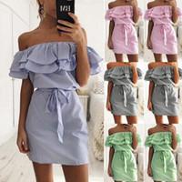 Schulterfrei Trägerlos Gestreiftes Rüschenkleid Frauen Sommer Sommerkleider Strand Freizeithemd Kurz Mini Party Kleider Robe Femme