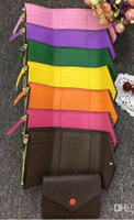 высокое качество рынка Манх оригинальной коробки роскошной натуральной кожи многоцветного короткий держатель карты бумажник классический карман на молнии Victorine дизайнер бумажника