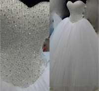 Newest Hot Sale 2019 White Ball Gown Wedding Dresses With Be...