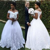 Südafrikanische Brautkleider Aline aus der Schulter Vintage Country Garden bodenlangen Spitze Brautkleider bescheidene Lace Up Perlen Vestidos