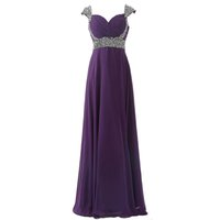 Charming Chiffon Purple Bridesmaid Dresses A- Line Crystals B...