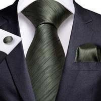 Fast Shipping Silk Tie Set Dark Green Striped Men's Wholesale Classic Jacquard Woven Necktie Pocket Square Cufflinks Wedding Business N-7226