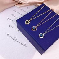 S925 стерлингового серебра 925 Оригинал женщины ожерелье синий песчаник сердца Искусственный кристалл циркона Luxury Cross Chain Charm