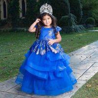 Royal Blue jupe à volants Fleur Filles Robes pour Party Jewel cou à manches courtes robe Pageant infantile Appliques Tulle Robes de bal pour enfants