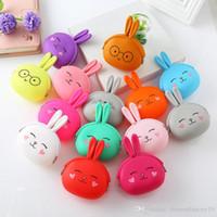 14 couleurs lapin monnaie monnaie mignonne mini sac de lapin sac de sac de lapin de silice gel porte-clés porte-clés