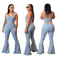 Moda feminina luz azul lavado flare jeans define sexy halter pescoço sem mangas top sino jeans de duas peças ternos recém-chegados primavera aut