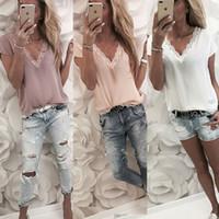 Новые модные женские летние футболки с коротким рукавом свободные повседневные футболки V-образным вырезом шифоновые топы Женские футболки