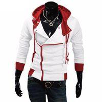 Patchwork Kapüşonlular Erkek Casual Assasins Creed Giyim Mens fermuar Erkekler Yan Hoodies ve Tişörtü Sudadera Hombre kapüşonlu