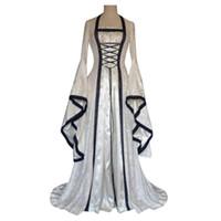 Gothic Mittelalterlichen Kleid Cosplay Karneval Halloween Kostüm für Frauen Retro Vestidos Court Lange Robe edle Prinzessin Party