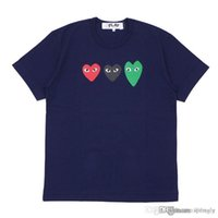 2018 COM Best Quality Blue three heart Des Garcons Play Gold Heart T-Shirt Black Size XL CDG