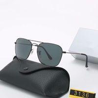 حار بيع تصميم العلامة التجارية النظارات الشمسية خمر الطيار نظارات شمسية الفرقة الاستقطاب UV400 عدسة زجاج رجل إمرأة نظارات شمس مع صندوق 3136