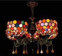 مصابيح الإبداعية الأمريكية الرجعية تيفاني الزجاج الملون أضواء الزخرفية بار مطعم أضواء غرفة المعيشة البوهيمي 5 رئيس الثريا