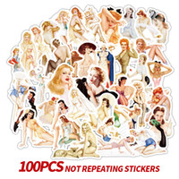 100 Pcs Retro poster Sexy Girl Stickers Laptop Motorcycle Sk...