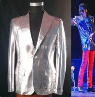 Rara MJ clásico de Michael Jackson Esto es punk rock de plata chaqueta informal traje informal, Blazer