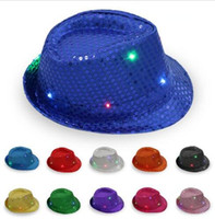 LED Jazz Chapéus Flashing Light Up Fedora Caps Lantejoula Cap Fancy Dress Dance Party Hats Unisex Hip-Hop Lamp Luminous Cap GB1204