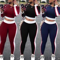 2adet Güzel Boş Yuvarlak Yaka Patchwork Siyah İki parçalı Pantolon Kadınlar Bayanlar Eşofman Hoodies Kazak Mahsul Tops + Pantolon Set