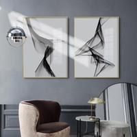 Wall nórdica Negro blanco del arte arte de la lona Pintura abstracta Pósteres Láminas de línea de imagen para la sala de estar moderna decoración del hogar No Frame